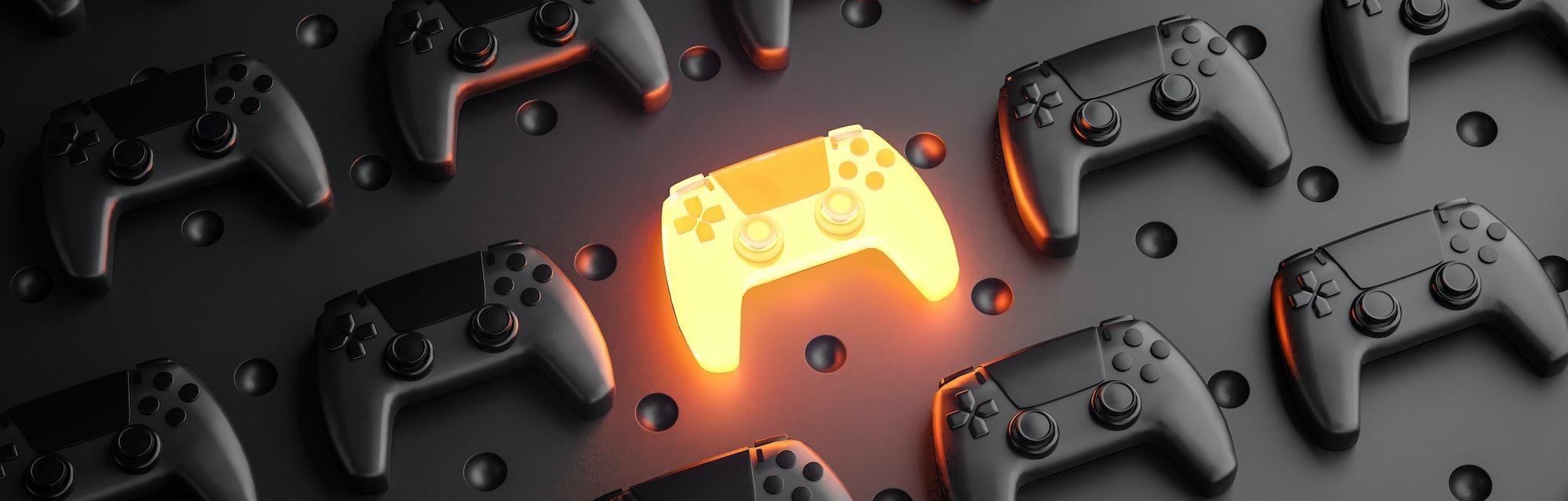 Outstanding Concept. Glowing Gamepad Between Multiple Black Joysticks Background 3D Rendering