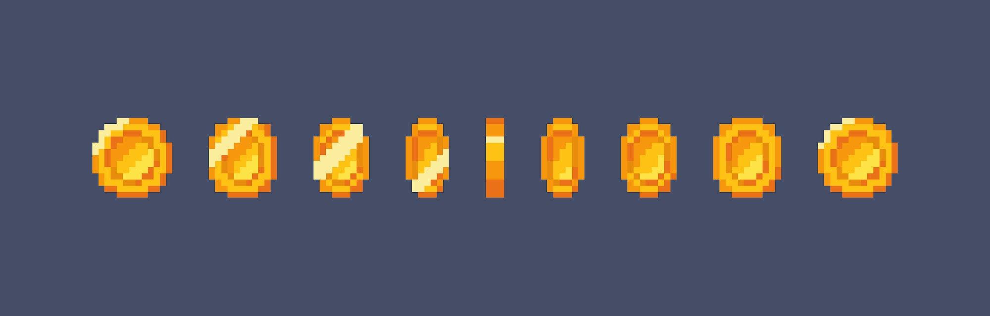 Pixel art gold coin animation. Vector illustration
