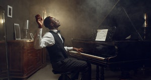 Black grand piano player, jazz performance