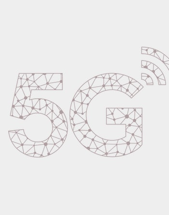 Vector technology icon network sign 5G. Image wireless 5g sign blue color.  Illustration 5g internet symbol in flat line minimalism style.