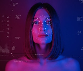 Future. Face Detection. Technological 3d Scanning. Biometric Facial Recognition. Face Id. Technological Scanning Of The Face Of Beautiful Woman. Neon Portrait. Bright Neon Lights. For Facial