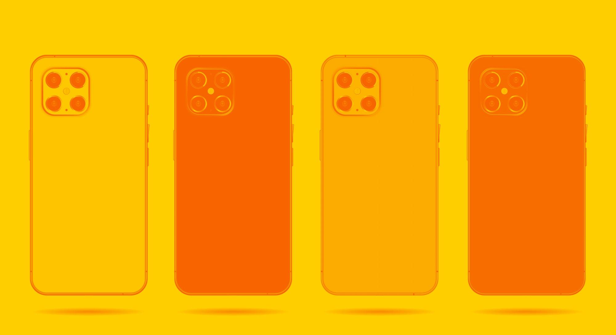 phone back set mickups isolated on white background