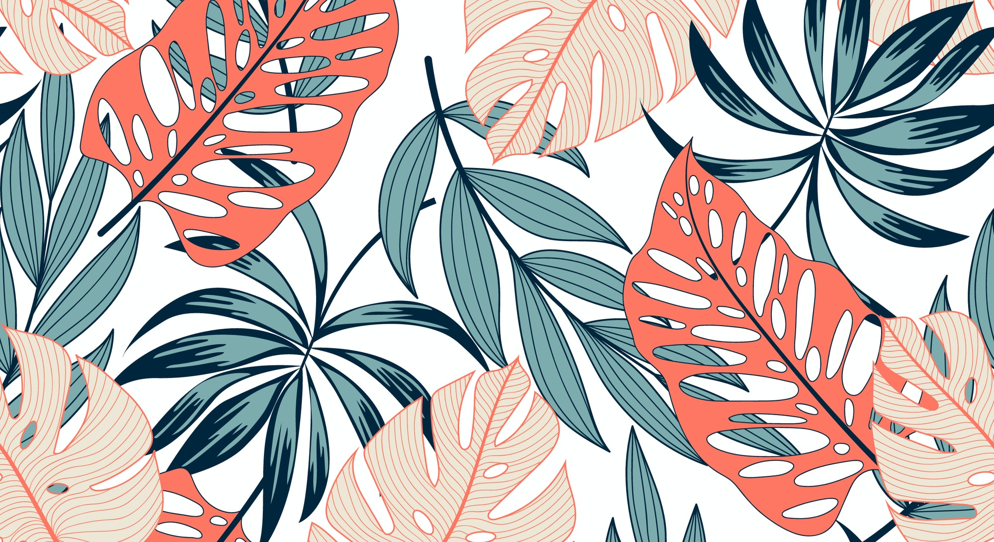 Fashionable seamless tropical pattern with bright plants and leaves on a delicate background. Beautiful exotic plants. Trendy summer Hawaii print. Colorful stylish floral.