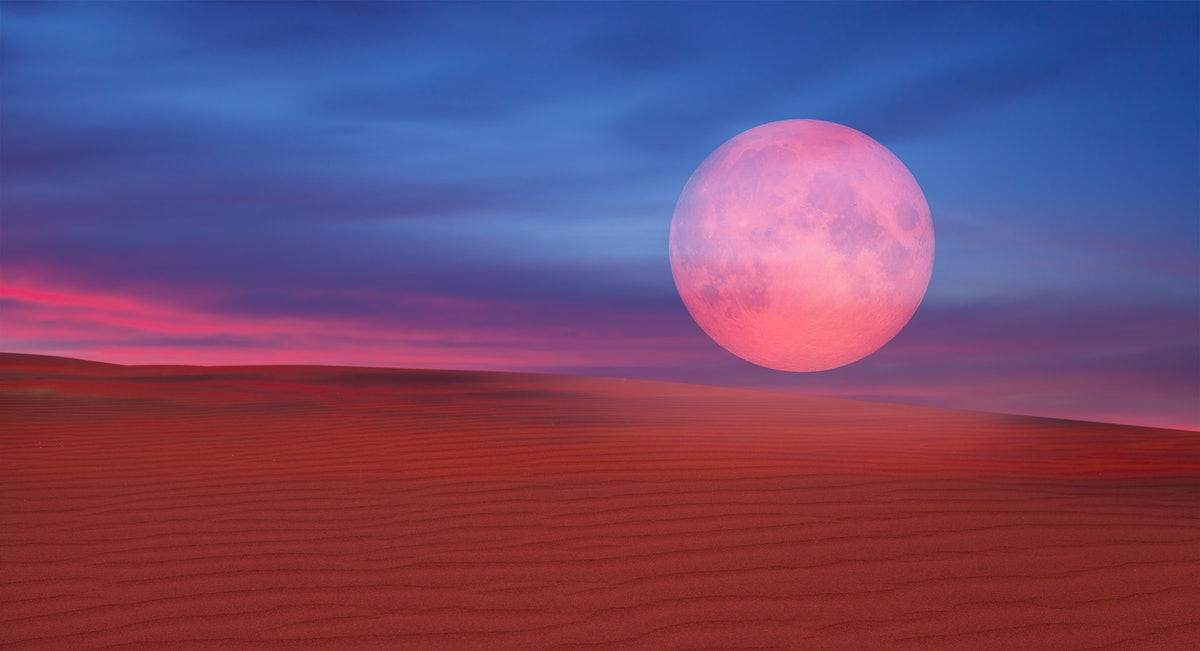 """Lunar eclipse over the desert """"Elements of this image furnished by NASA """""""