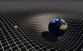 Art Concept of Earth and Moon on a gravity grid. Space-time warp and vortex. Gravity's Century. 3D Rendering.