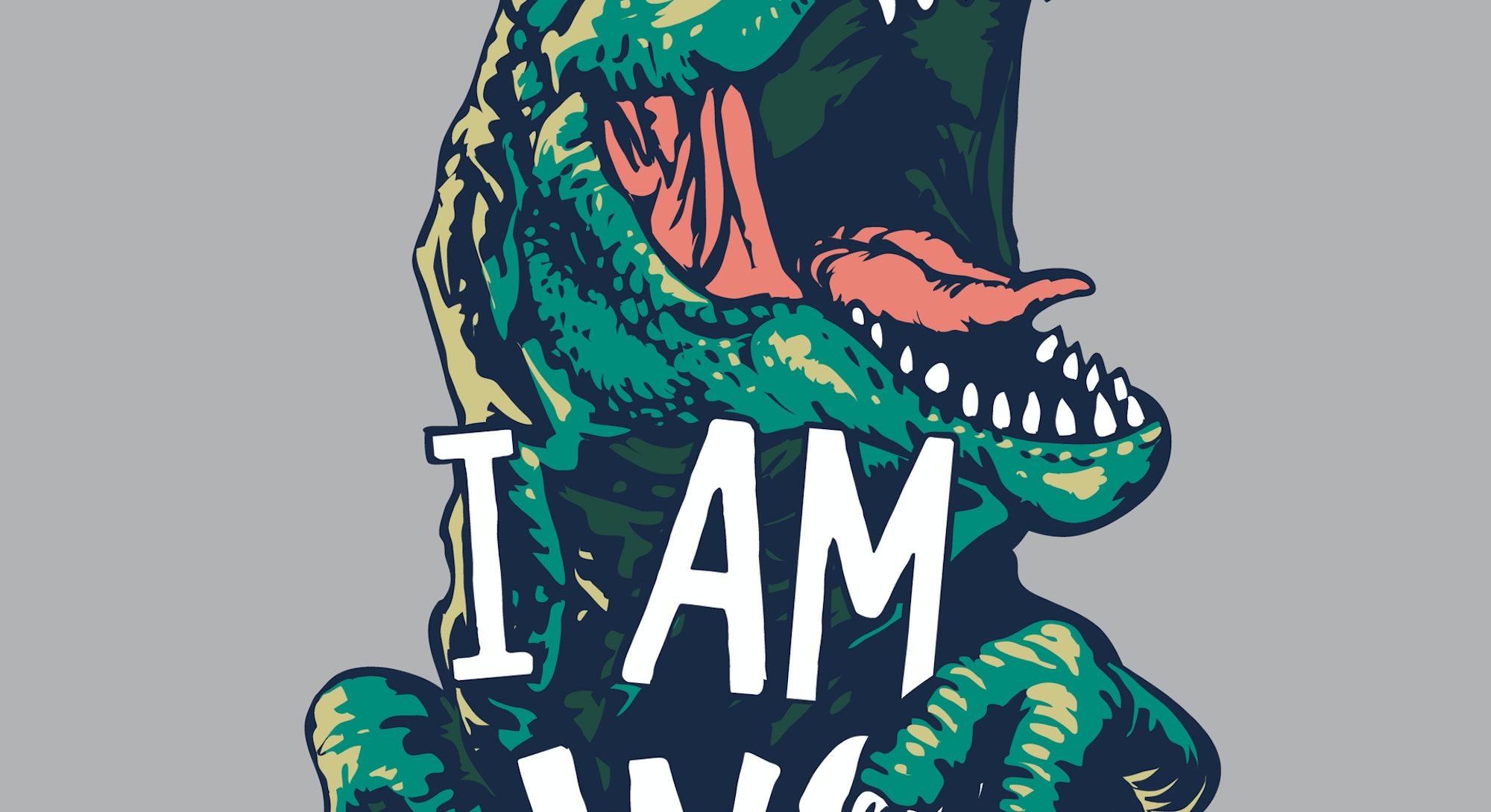 hungry slogan with dinosaur illustration