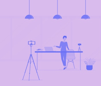 flat Vector illustration people record video for   making video clip for online channel concept