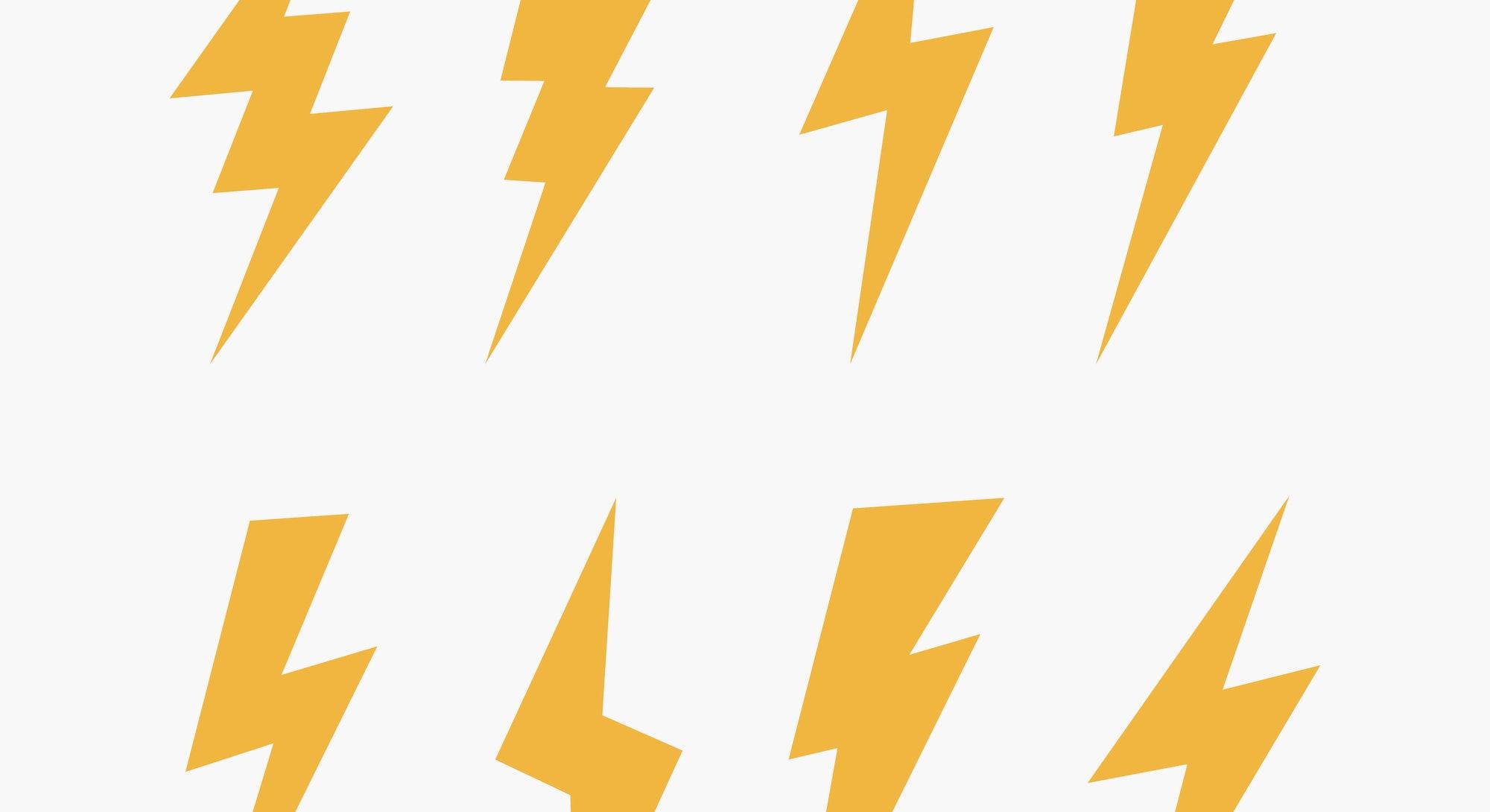 Set of 8 Lightning flat icons. Thunderbolts icons isolated on black background. Vector illustration