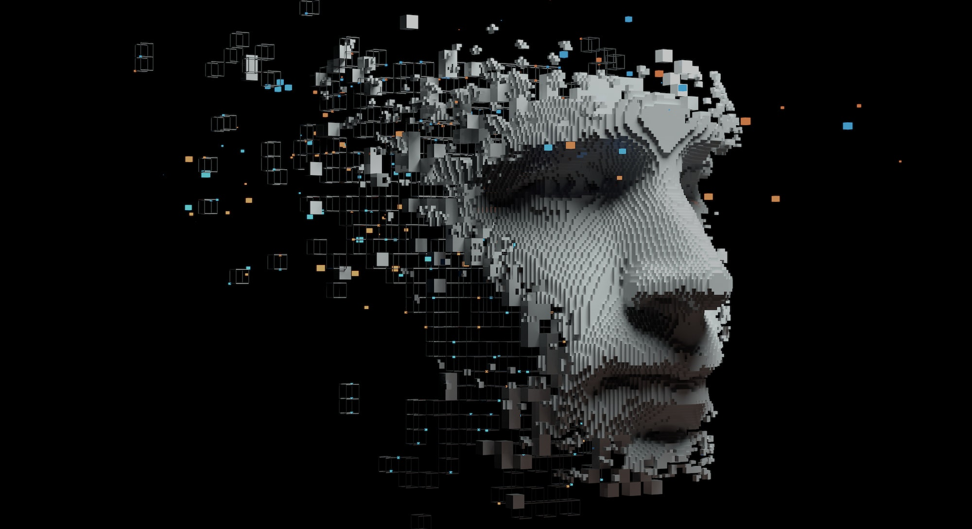 Abstract digital human face.  Artificial intelligence concept of big data or cyber security. 3D illustration