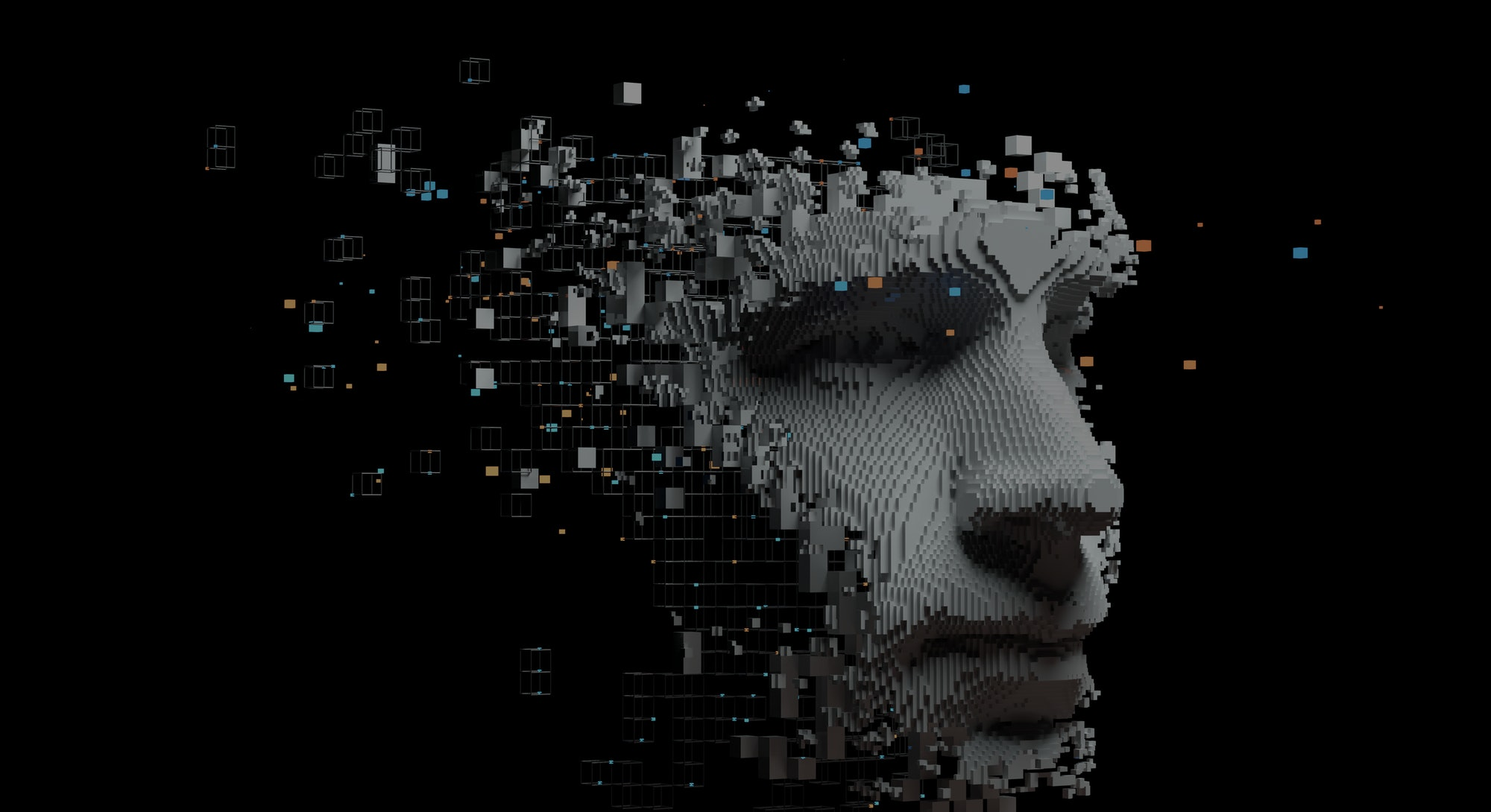 Abstract digital human face.  Artificial intelligence concept of big data or cyber security. 3D illu...