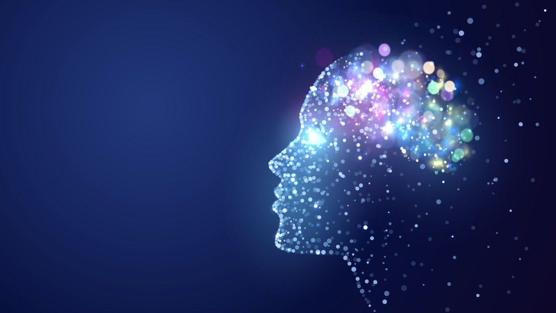 Human head with a luminous brain network, consciousness, artificial intelligence
