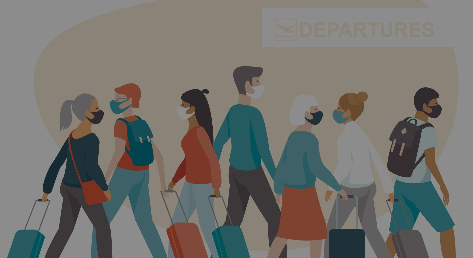 Crowd of passengers wearing protective medical masks in airport departure area. Travel during coronavirus COVID-19 disease outbreak. Concept flat vector illustration