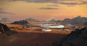 colony on Mars, first martian city in desert landscape on the red planet (3d space illustration)