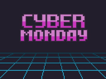 Pixel art retro background with cyber friday text