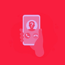 unknown caller, phone call, smartphone in hand vector icon