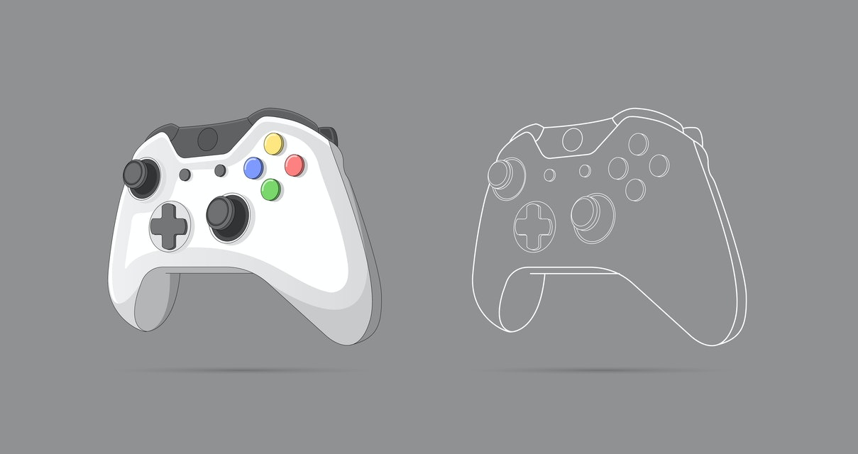 Illustration of gamepad, controller, input device. Console gaming, video games, entertaiment, arcade. Retro Gaming controller line and color drawing. Flat style, colorful, vector illustration.
