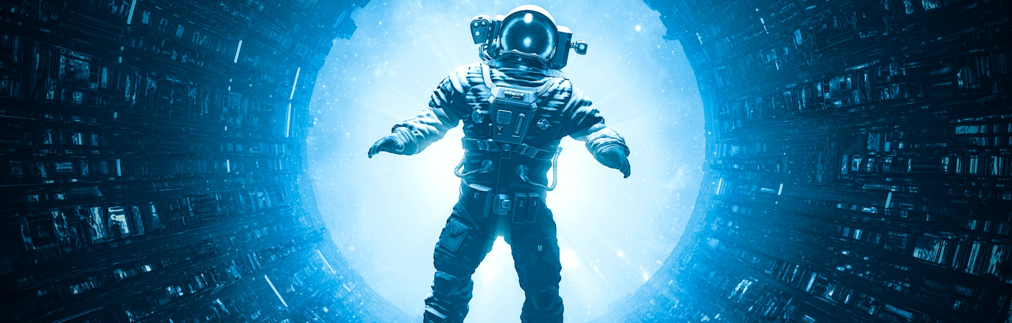 Dangers of space travel / 3D illustration of astronaut floating in dark mysterious space station cor...