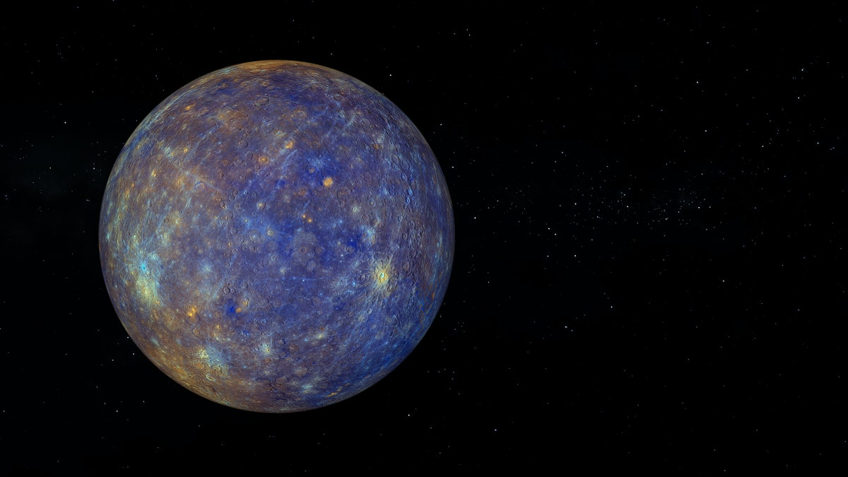 Planet Mercury with enhanced Color. Text space on the right. Realistic 3D render of mercury and stars. Mercury in space.