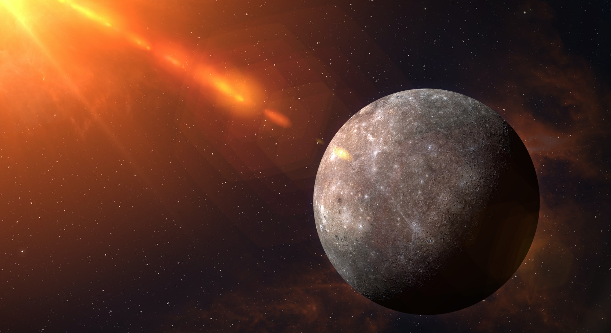 View of planet Mercury from space. Space, nebula and planet Mercury. This image elements furnished by NASA.