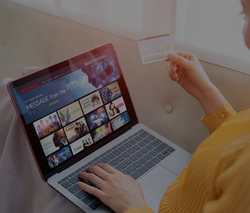 Interface of video distribution service. Subscription service. Streaming video. communication network.