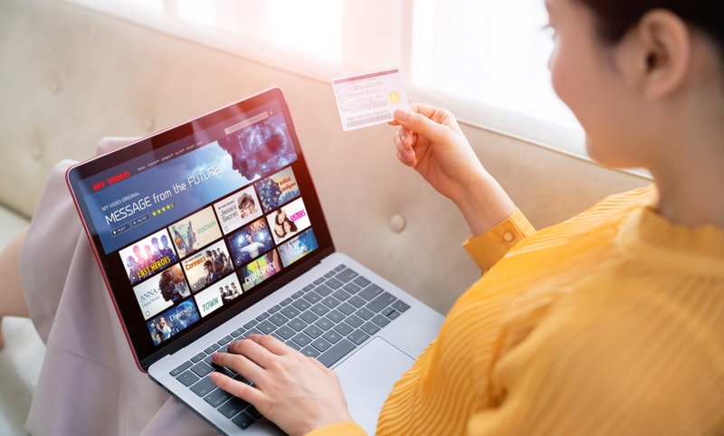 Interface of video distribution service. Subscription service. Streaming video. communication networ...
