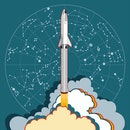 SpaceX rocket BFR Starship launching vector retro style illustration. Future is Now art. Elon Musk rocket BFR Starship. Vector cartoon SpaceX Big Falcon Rocket spaceship: web, postcard, poster, print.