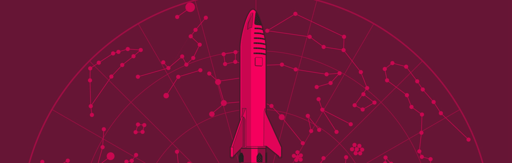 SpaceX rocket BFR Starship launching vector retro style illustration. Future is Now art. Elon Musk rocket BFR Starship. Vector cartoon SpaceX Big Falcon Rocket spaceship: web, postcard, poster, print.