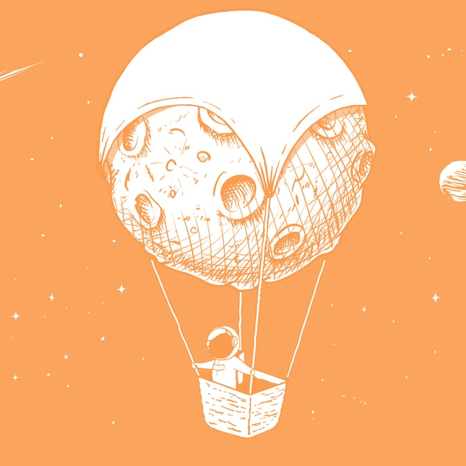 astronaut travels by on aerostat made of Moon. Spaceman exploring the universe. Space voyager.Vector illustration