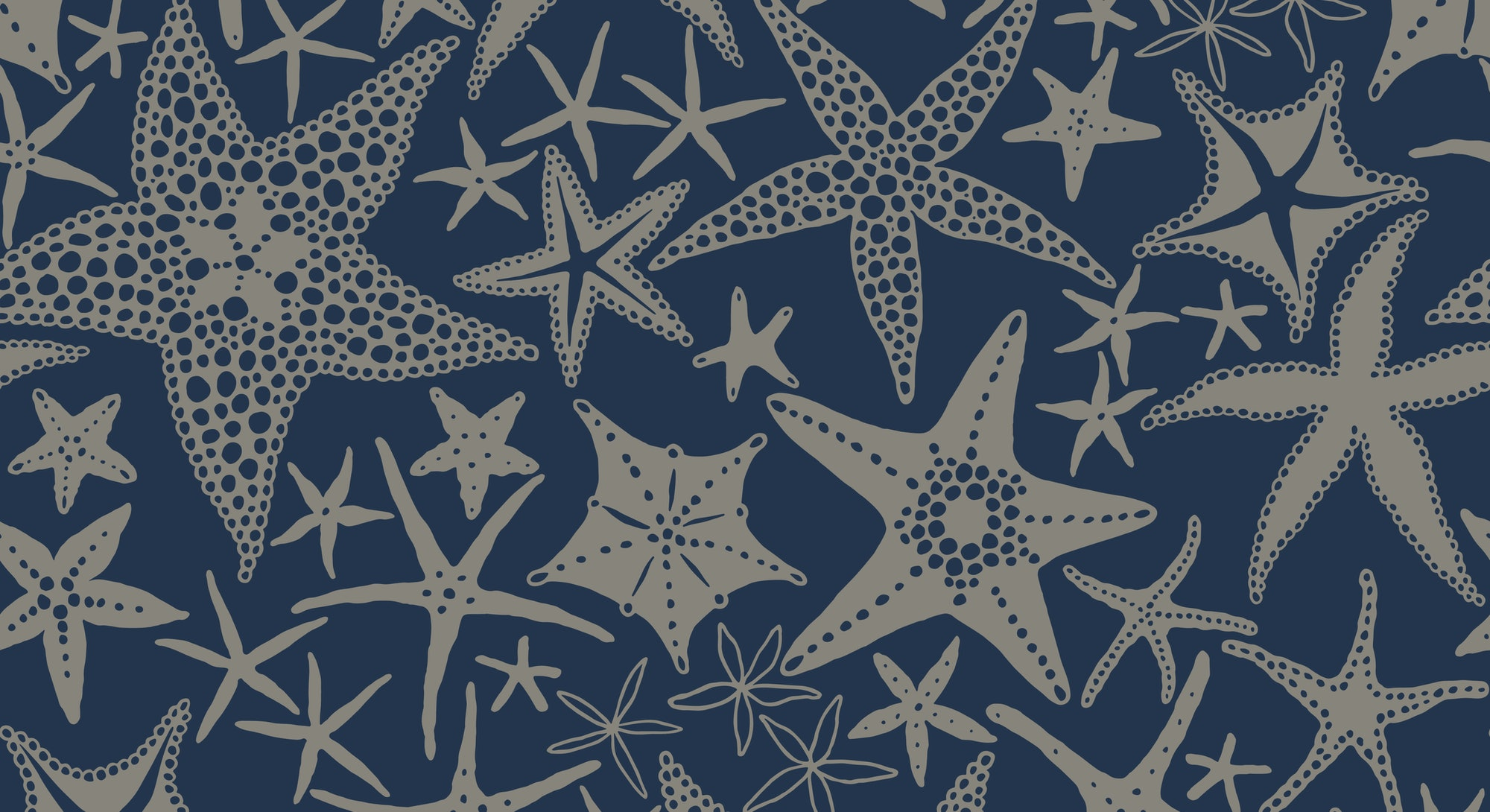 Starfishes on blue background, seamless doodle pattern with scattered abstract sea stars. Vector hand drawn illustration in vintage style.