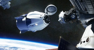 SpaceX Crew Dragon spacecraft docking to the International Space Station. Dragon is capable of carry...