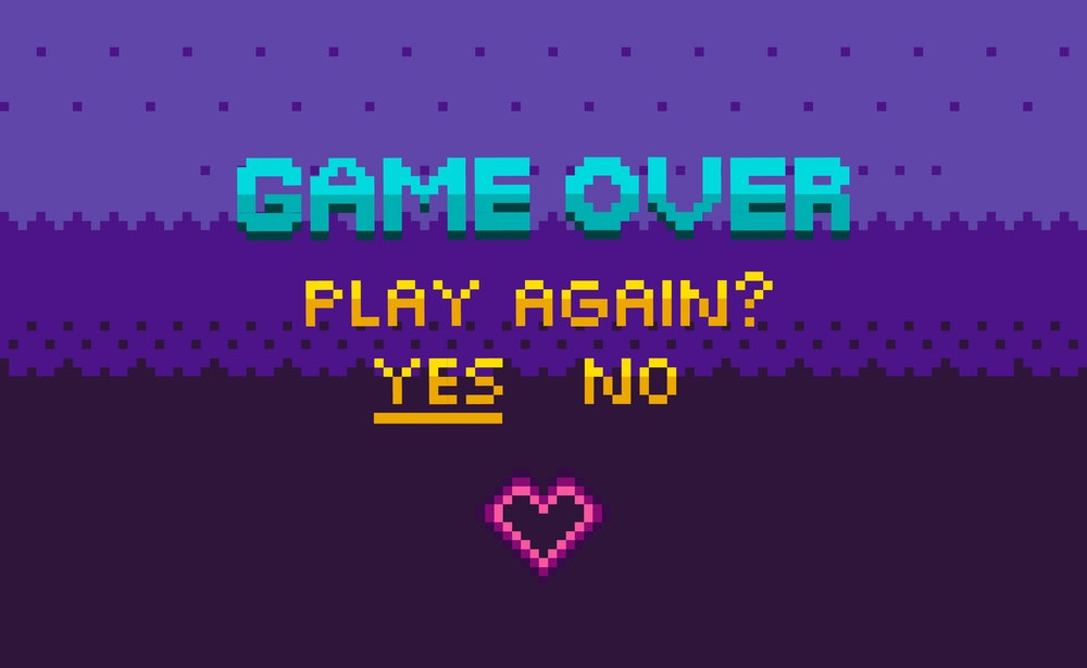 Game over and question of play again, yes or no choosing link, finish level page in purple color, pi...