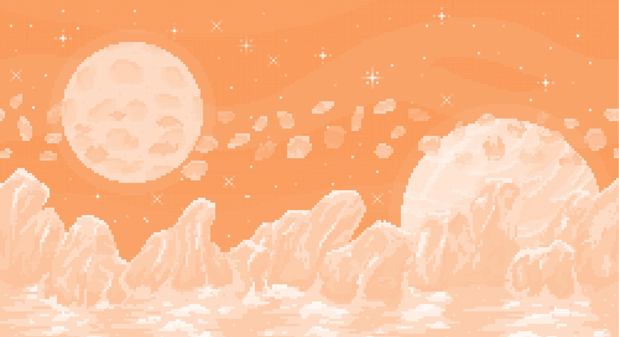 Space planet in pixel art. Background of space planet. Ice landscape with mountains, planet and star...