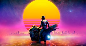 Cyberpunk biker on a futuristic motorbike on a retrowave landscape in the sunset - concept art - 3D rendering