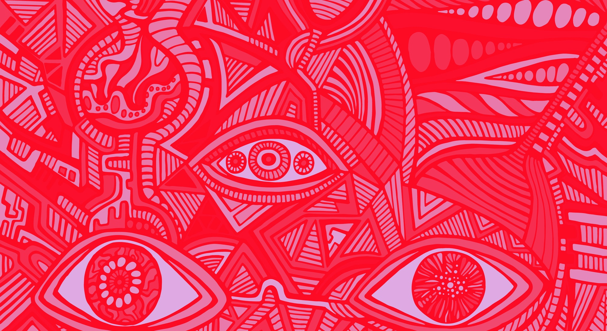 Cartoon funny psychedelic shamanic eyes of crazy patterns. Colorful art with decorative eyes. Surreal doodle stylish card. Abstract pattern with maze ornaments. Vector hand drawn illustration.