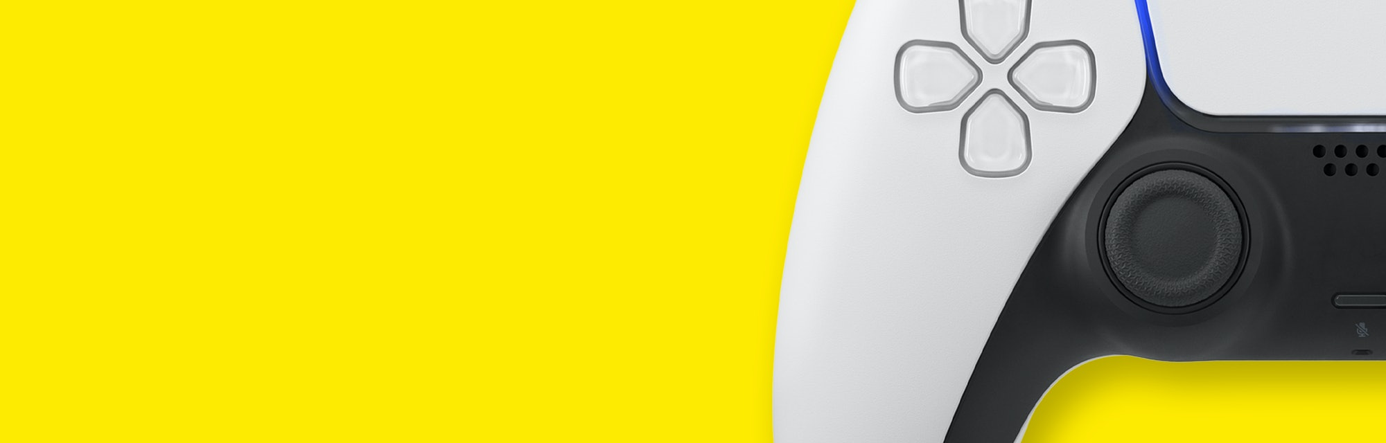 White next gen controller on yellow  background