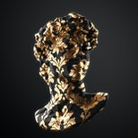 Abstract illustration from 3D rendering of classical head sculpture with golden leaf brocade pattern on black marble isolated on background.