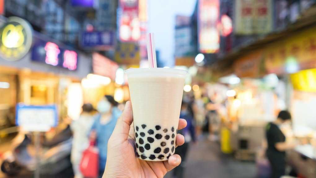 Bubble Tea the traditional drink of Taiwan at the night market