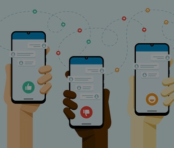 Smartphone mockup in human hand. Social media communication with a lot of peoples. Like, dislike, smile button. Vector flat colorful technology illustration
