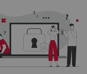 Sad Man Sitting at Huge Laptop with Padlock and Shield on Screen Suffering about Lost Account Password. Happy Woman Run with Key in Hands. Information Defend. Flat Vector Illustration, Line Art