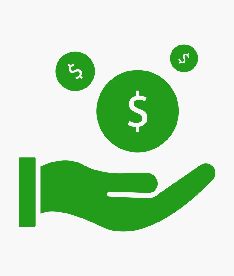 save money icon, salary money, invest finance, hand holding dollar. symbols on white background. vec...