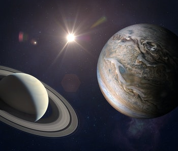 Great Conjunction: Jupiter and Saturn Meet on Solstice. Rare Jupiter-Saturn Conjunction. Elements of this image furnished by NASA.