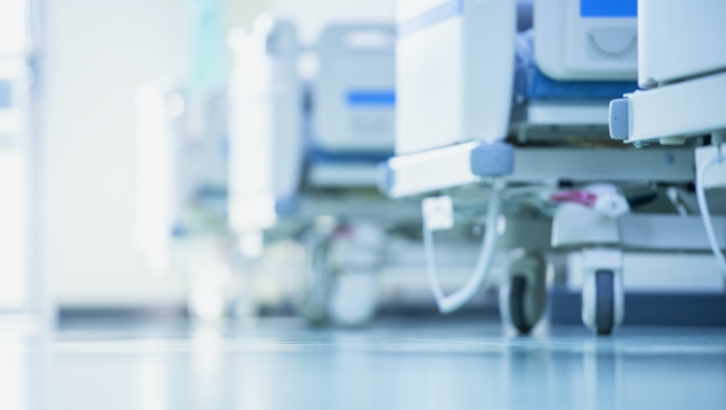 Blurred hospital images, Patient bed in the hospital, Hospital cleaning, Hospital disinfection cleaning, Patient bed cleaning for emergency patients.