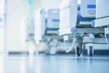 Blurred hospital images, Patient bed in the hospital, Hospital cleaning, Hospital disinfection clean...