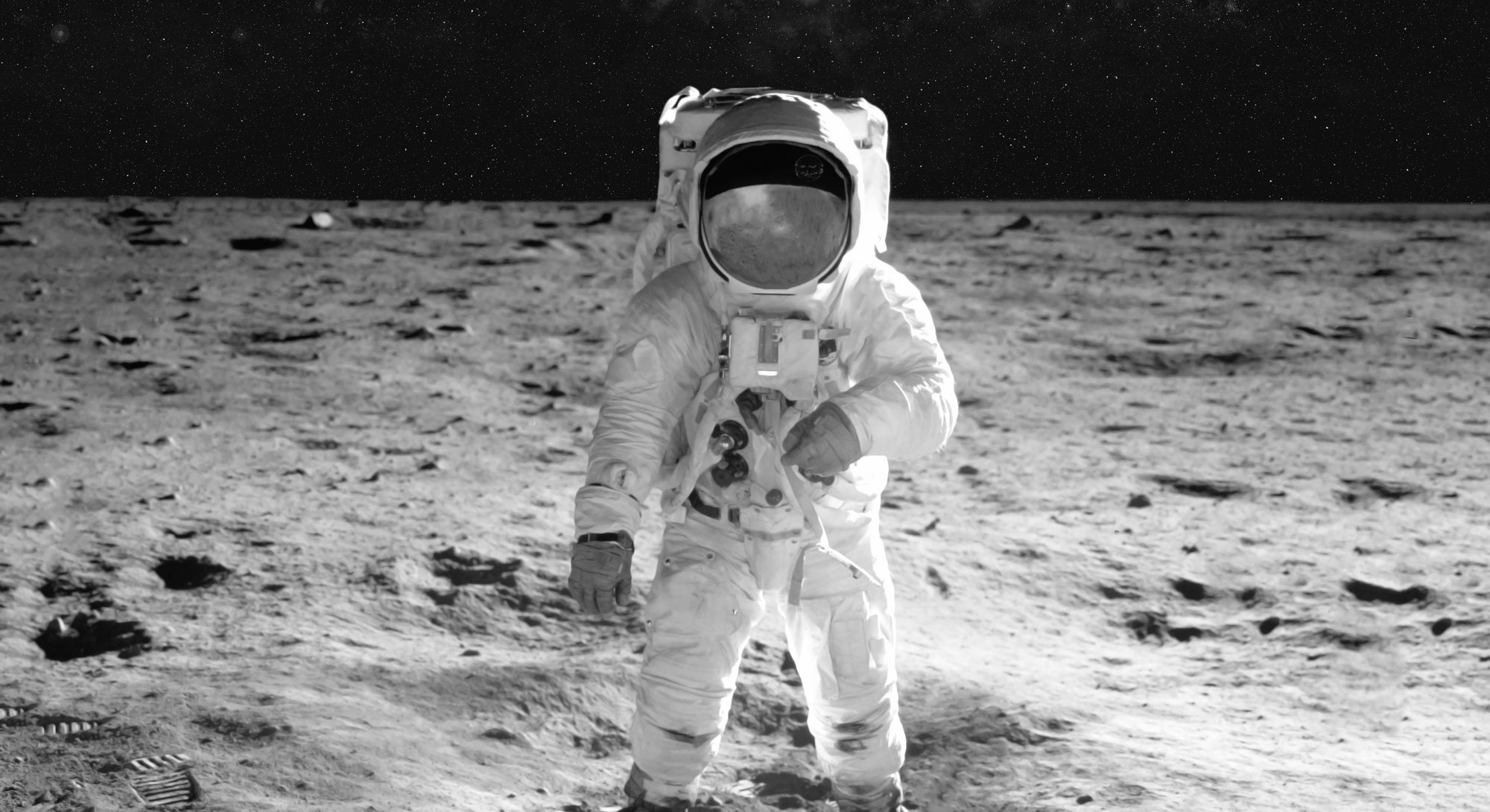 The astronaut goes across the Moon, in a white space suit. Elements of this image were furnished by NASA for any purpose