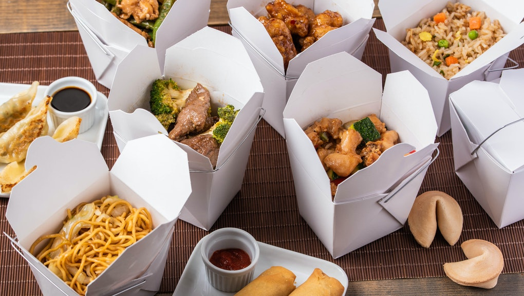 delivery image, american chinese food in boxes