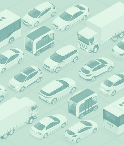Flat 3d isometric high quality city transport car icon set. Bus, bicycle courier, Sedan, van, cargo ...