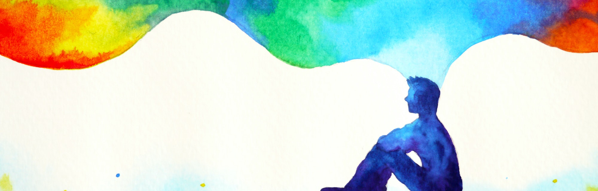 human and spirit powerful energy connect to the universe power abstract art watercolor painting illu...