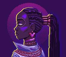 Futuristic portrait of a black woman. Vivid neon lighting, colors. Fashionable jacket, necklace. Cyb...