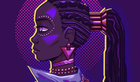 Futuristic portrait of a black woman. Vivid neon lighting, colors. Fashionable jacket, necklace. Cyberpunk style