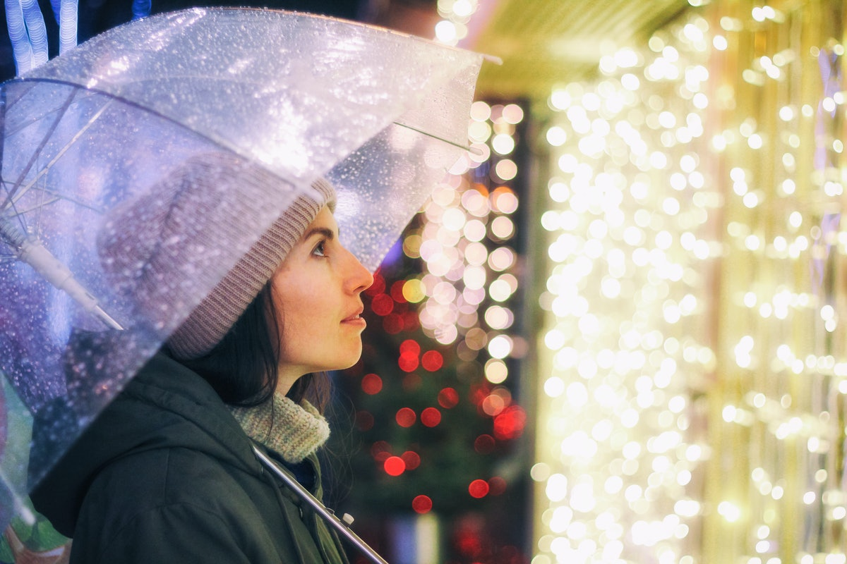 Portrait of young beautiful girl holding umbrella with garland. Posing in Christmas fair, in street of european city. Snowfall. Model wearing knitted sweater, scarf, hat. Christmas mood